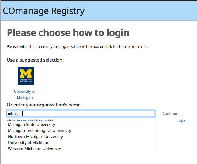 COmanage institution selection screen
